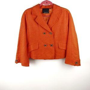 Carlisle Orange Silk Woven Button Front Blazer